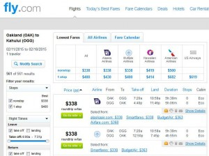Oakland-Maui: Fly.com Search Results