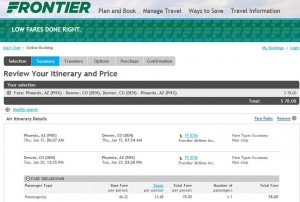 Phoenix-Denver: Frontier Booking Page
