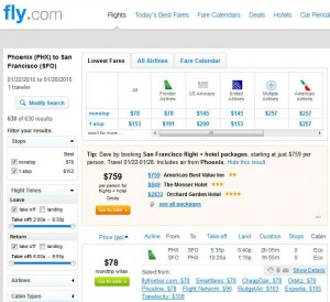 Phoenix-San Francisco: Fly.com Search Results