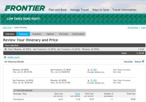Phoenix-San Francisco: Frontier Booking Page