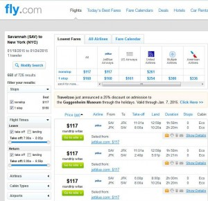 Savannah-New York City: Fly.com Search Results