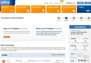 Savannah-New York City: JetBlue Booking Page