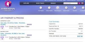 San Jose-Honolulu: Hawaiian Booking Page