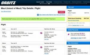 San Jose-Maui: Orbitz Booking Page