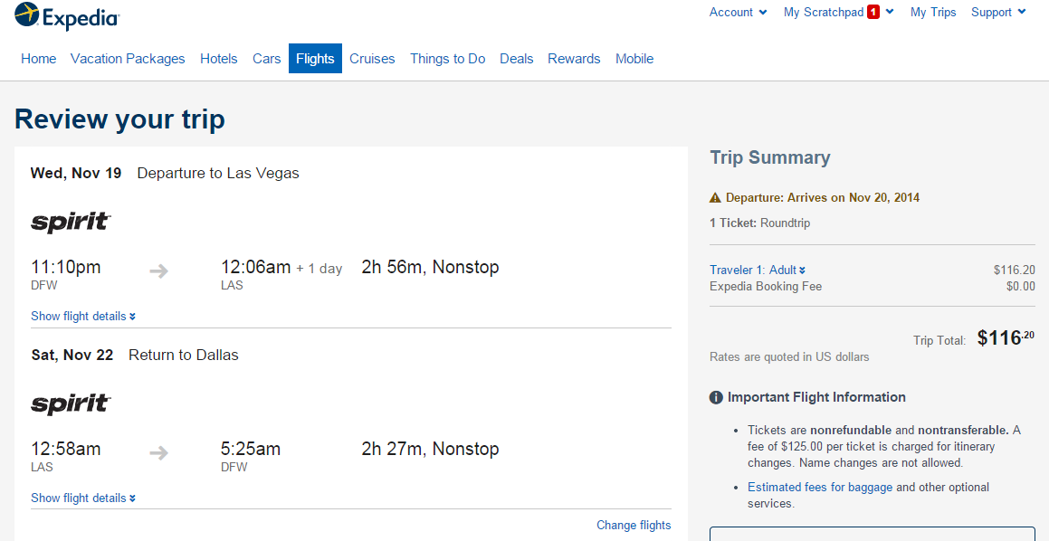 Expedia Booking Page: Dallas to Las Vegas