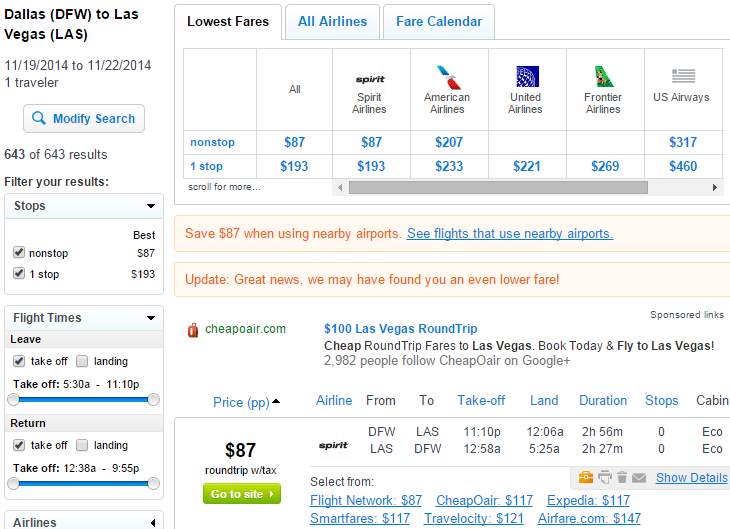 Fly.com Results Page: Dallas to Las Vegas