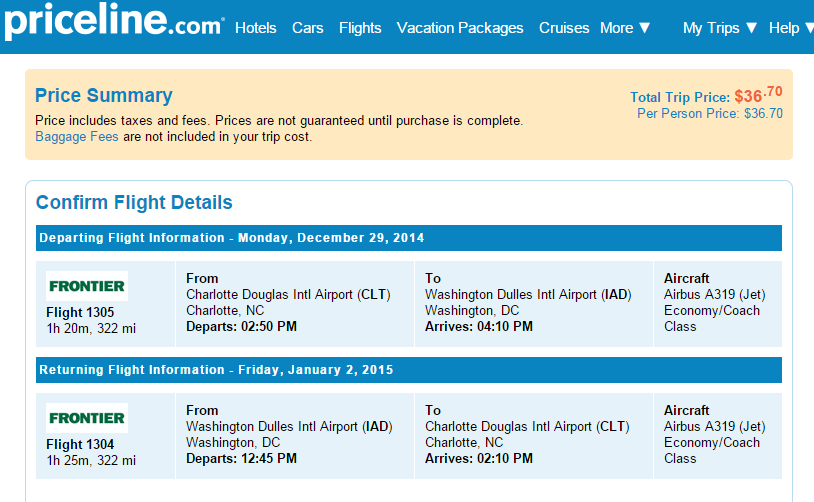 Priceline Booking Page: Charlotte to Washington, D.C.