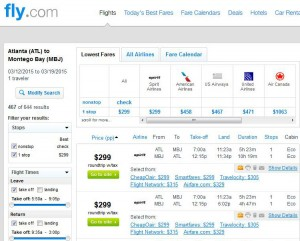 Atlanta-Montego Bay: Fly.com Search Results