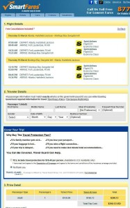 Atlanta-Montego Bay: SmartFares Booking Page