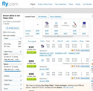 $197 -- Boston to San Diego: Fly.com Results