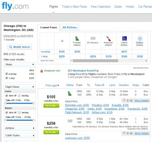 $105 -- Chicago to D.C.: Fly.com Search Results