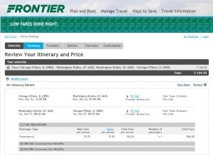 $105 -- Chicago to D.C.: Frontier Booking Page