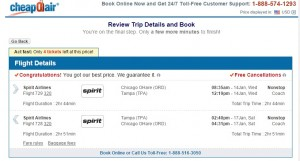 $97 -- Chicago to Tampa: CheapOair Booking Page