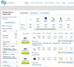 $97 -- Chicago to Tampa: Fly.com Results