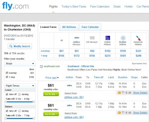 $61-$77 -- D.C. to Charleston: Fly.com Results