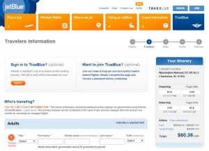$61-$77 -- D.C. to Charleston: JetBlue Booking Page