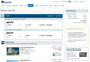 $87 -- Dallas to Fort Myers: Expedia Booking Page