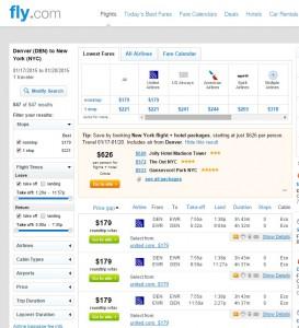 $179 -- Denver to New York City: Fly.com Results