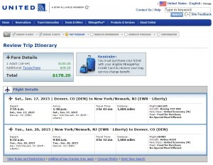 $179 -- Denver to New York City: United Booking Page