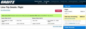 Los Angeles-Lima: Orbitz Booking Page Cyber Mon