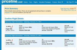 Miami-Punta Cana: Priceline Booking Page Cyber Mon