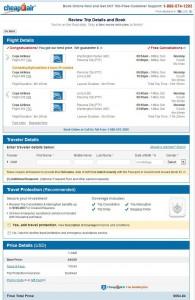 Washington, D.C.-Lima: CheapoAir Booking Page