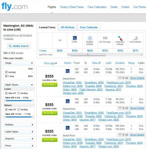 Washington, D.C.-Lima: Fly.com Search Results