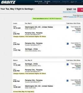 Washington, D.C.-Santiago: Orbitz Booking Page