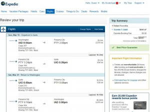 Washington, D.C.-Quito: Expedia Booking Page