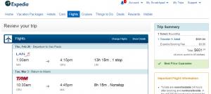 Expedia Booking Page: Miami to Sao Paulo
