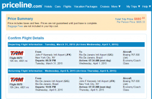Priceline Booking Page: NYC to RIO