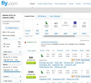 $58 -- Atlanta to Orlando: Fly.com Results
