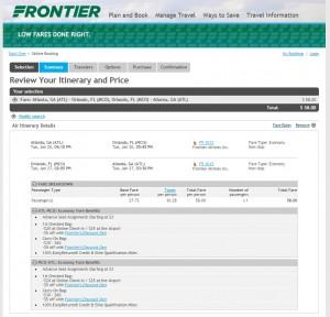$58 -- Atlanta to Orlando: Frontier Booking Page