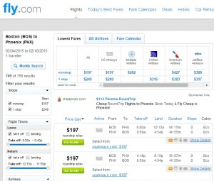 Boston to Phoenix: Fly.com Results