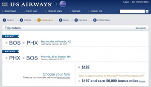 Boston to Phoenix: US Air Booking Page