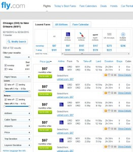 Chicago to New Orleans: Fly.com Results Page