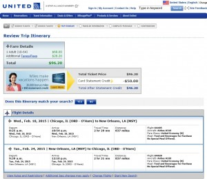 Chicago to New Orleans: United Booking Page