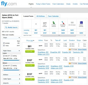 $81 -- Dallas to Fort Myers: Fly.com Results