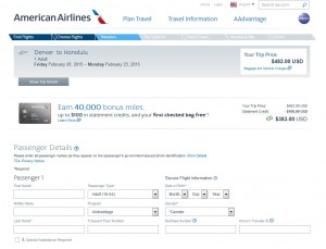 Denver to Honolulu: AA Booking Page