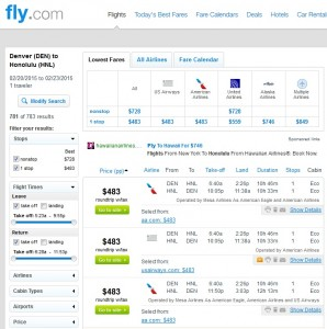 Denver to Honolulu: Fly.com Results