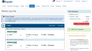 Expedia Booking Page: Atlanta to Orlando