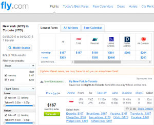 Fly.com Results Page: NYC to Toronto