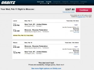 NYC to Moscow: Orbitz Booking Page