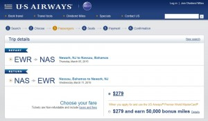 New York City to Nassau, Bahamas: US Air Booking Page