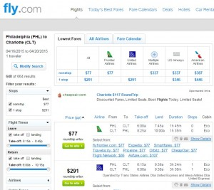 Philadelphia to Charlotte: Fly.com Results