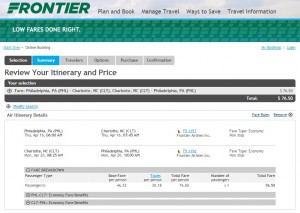 Philadelphia to Charlotte: Frontier Booking Page