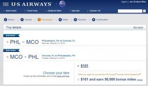 Philadelphia to Orlando: US Airways Booking Page