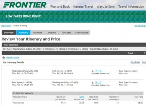 Washington, D.C.-Fort Myers: Frontier Booking Page