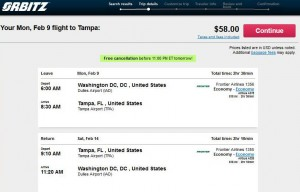 Washington, D.C.-Tampa: Orbitz Booking Page