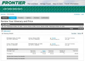 Washington D.C. to Cancun: Frontier Booking Page
